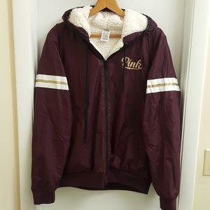 😍 Rare vs pink sherpa windbreaker jacket size M/L